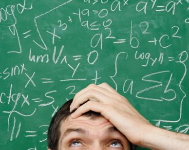 BMBMYP Confused Man in Front of Math Formula Written on a Chalkboard